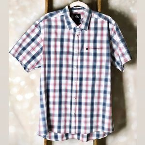 Quicksilver Blue Red Plaid Short Sleeve Button Up